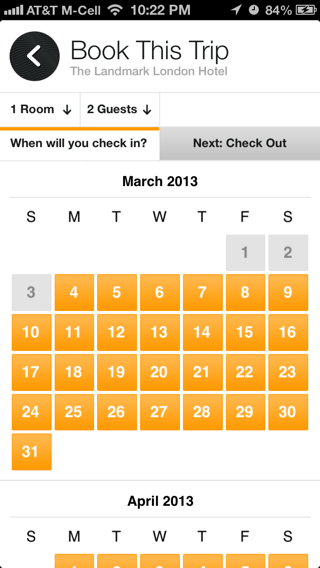 Jetsetter iPhone calendar screenshot