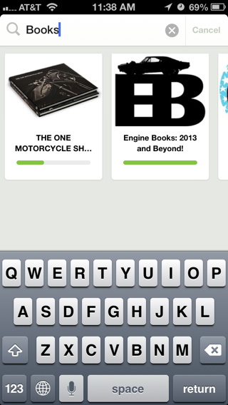 Kickstarter iPhone search screenshot