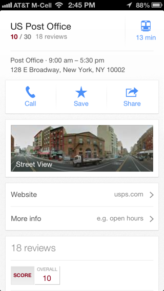 Googlemaps iPhone detail views screenshot