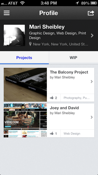 Behance iPhone user profiles screenshot