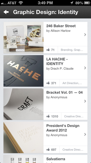Behance iPhone feeds screenshot