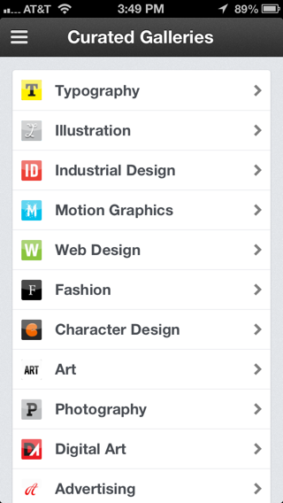Behance iPhone lists screenshot
