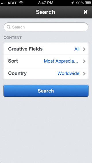 Behance iPhone search screenshot