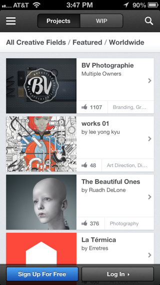 Behance iPhone sign up flows screenshot