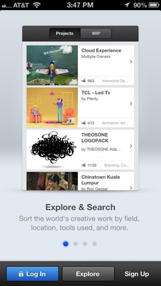 Behance iPhone walkthroughs screenshot