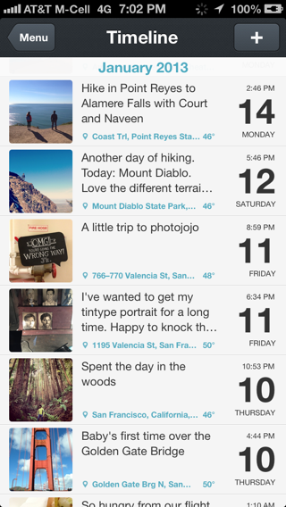 Day One iPhone timelines screenshot