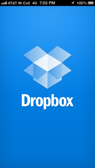 Dropbox iPhone splash screens screenshot