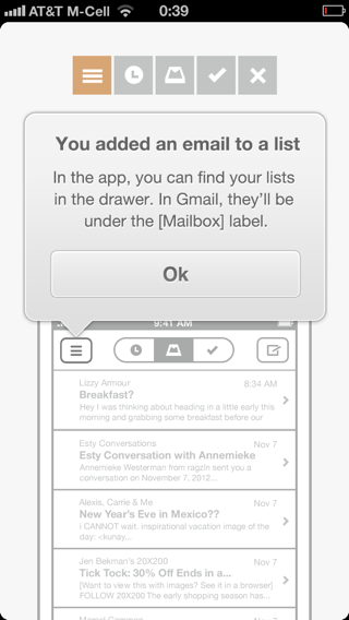 Mailbox iPhone popovers, walkthroughs screenshot