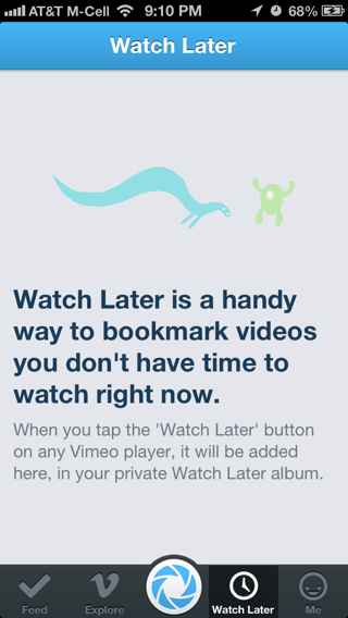 Vimeo iPhone empty data sets screenshot