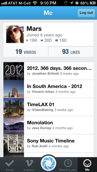 Vimeo iPhone user profiles screenshot