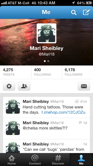 Twitter iPhone user profiles screenshot