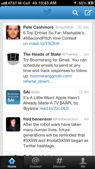 Twitter iPhone feeds screenshot