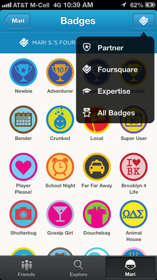 Foursquare iPhone popovers screenshot