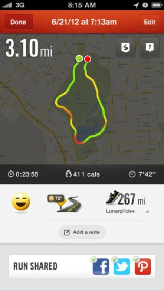 Nike Plus iPhone maps, gps, stats screenshot
