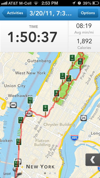Runkeeper iPhone maps, gps, stats screenshot
