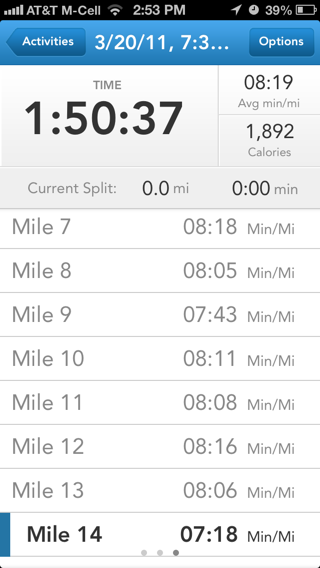Runkeeper iPhone stats, lists screenshot