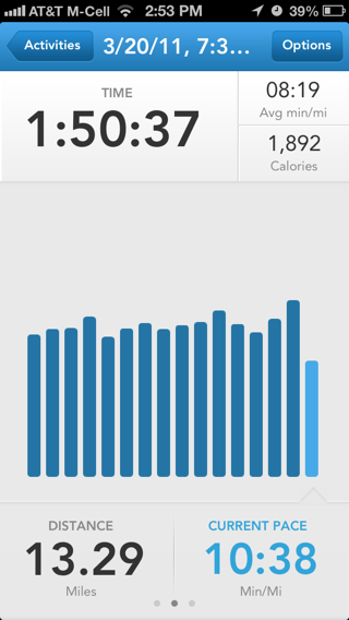 Runkeeper iPhone detail views, stats screenshot