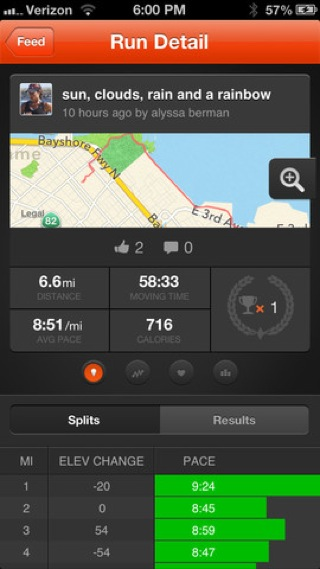 Strava Run iPhone gps, maps, stats screenshot