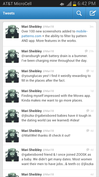 Twitter Android feeds screenshot