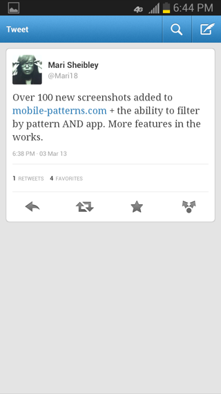 Twitter Android detail views screenshot