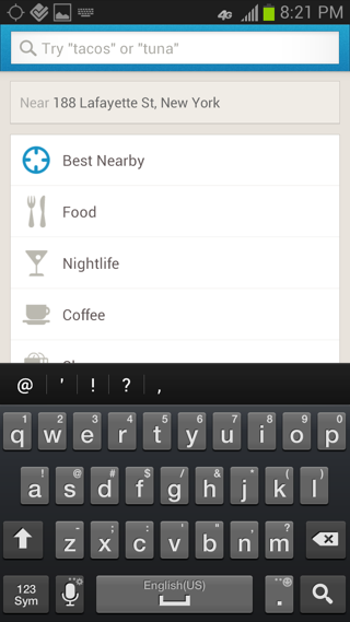 Foursquare Android search screenshot