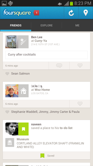 Foursquare Android feeds screenshot