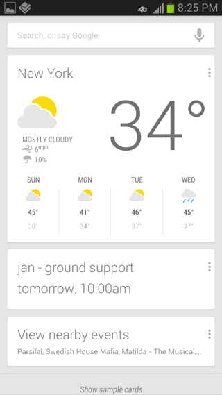 Google Now Android home, search screenshot