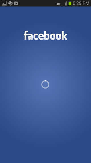 Facebook Android loading views screenshot