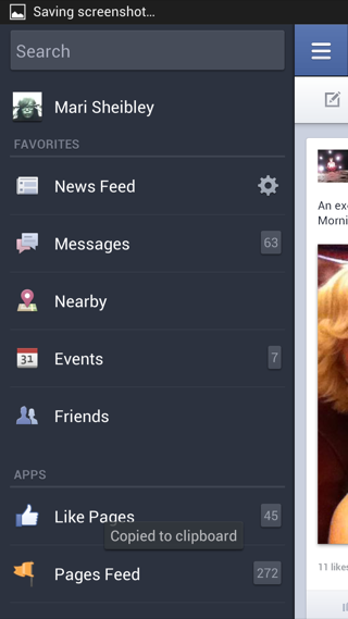 Facebook Android custom navigation screenshot