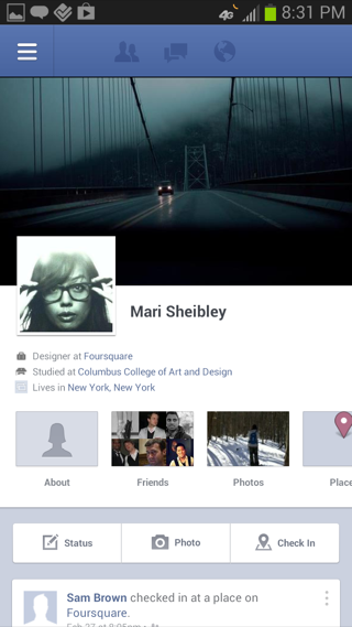 Facebook Android user profiles screenshot