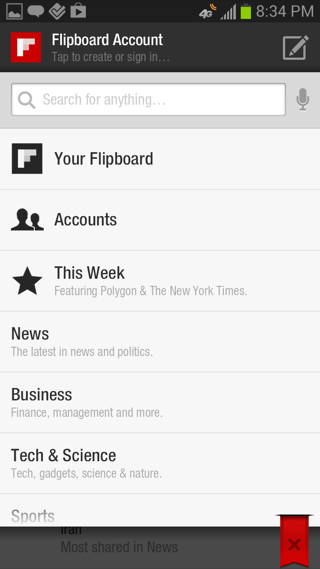 flipboard Android search screenshot