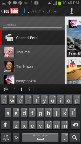 YouTube Android search screenshot