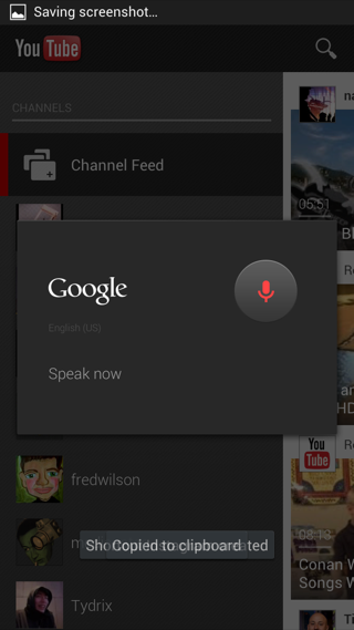 YouTube Android popoevers, voice screenshot