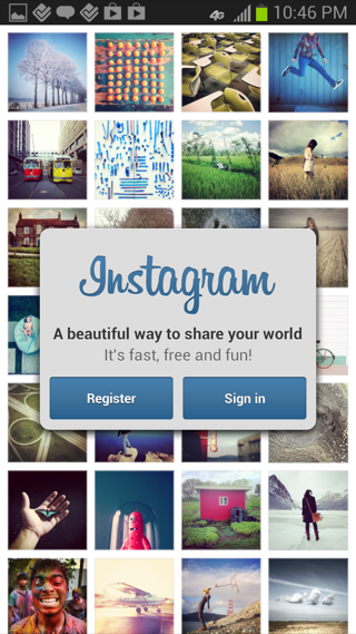 Instagram Android sign up flows screenshot