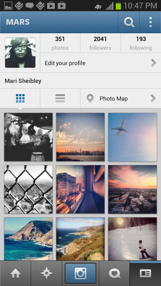 Instagram Android user profiles screenshot