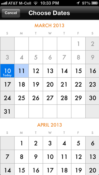 Kayak iPhone calendar screenshot