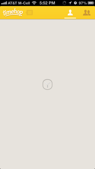 Timehop iPhone loading views screenshot