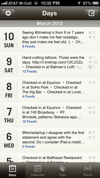 Momento iPhone lists, calendar screenshot