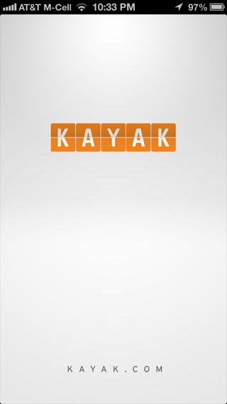 Kayak iPhone splash screens screenshot