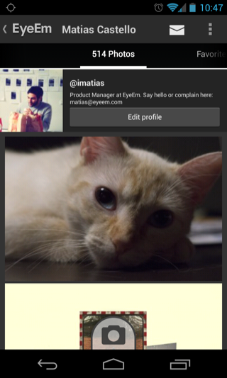 EyeEm Android user profiles screenshot