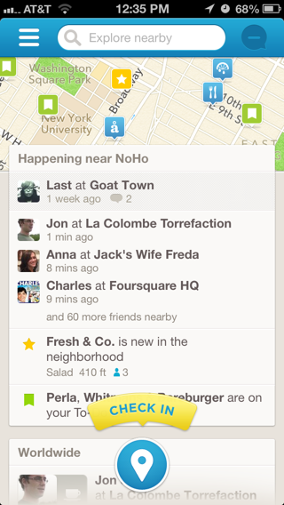 Foursquare iPhone feeds, maps, coach marks screenshot
