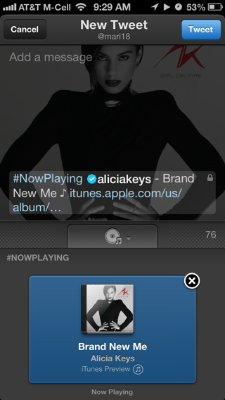 Twitter Music iPhone compose screens screenshot