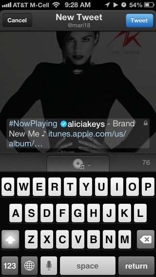 Twitter Music iPhone comment compose screenshot