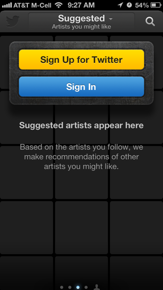 Twitter Music iPhone sign up flows screenshot