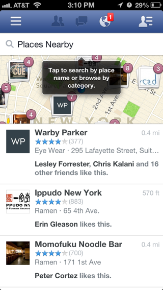 Facebook iPhone maps, popovers screenshot