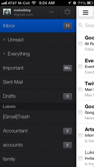 Gmail iPhone custom navigation screenshot