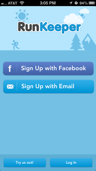Runkeeper iPhone log in, sign up flows screenshot