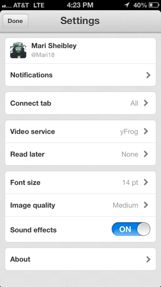 twitter iPhone settings screenshot