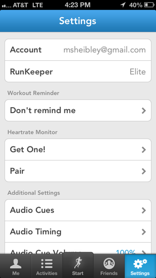 Runkeeper iPhone settings screenshot