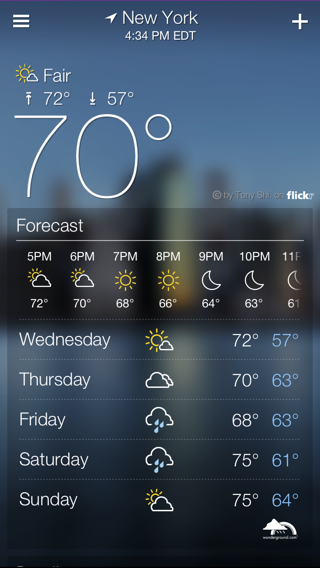 Yahoo Weather iPhone home, weather screenshot